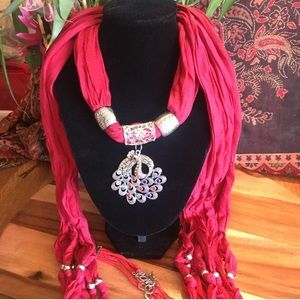 Jeweled Scarf set, Red and Silver